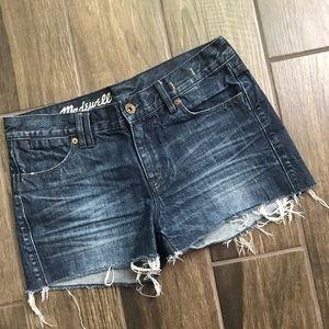 Madewell Dark Wash Denim Shorts Frayed Hem Sz 25